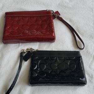 Two Coach Leather Patent Wrislets